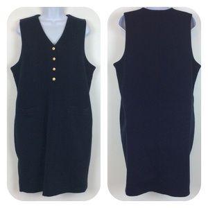 Lizsport Sleeveless Navy Blue Gold Button Dress